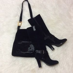 GORGEOUS BLACK SUEDE LEATHER CANDACE CHAPS BOOTS